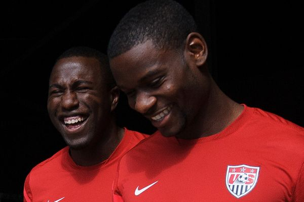 US soccer players Mauriced Edu and Jozy Altidore.  Credit: John Todd - ISIPhotos.com