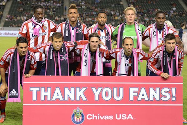 Chivas USA's lineup in October, 2012.  Credit: David Bernal - ISIPhotos.com