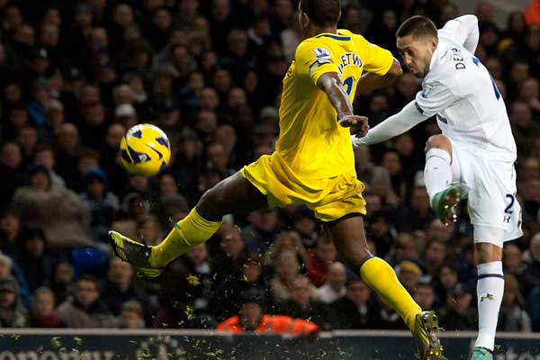 Clint Dempsey scores on New Year's Day 2013.  Credit: Ben Queenborough - ISIPhotos.com
