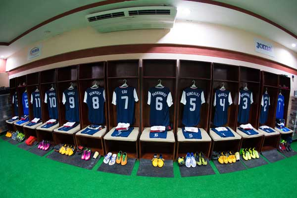 The US locker room in Honduras.  Credit: Michael Janosz - ISIPhotos.com