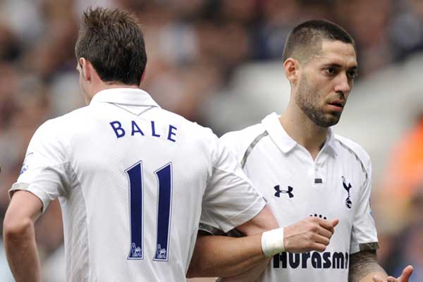 Spurs teammates Gareth Bale and Clint Dempsey.  Credit: Joe Toth - ISIPhotos.com