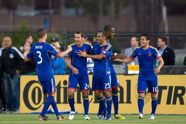 The Colorado Rapids celebrate a goal in their 1-1 draw with San Jose. Credit: Michael Pimentel - ISIPhotos.com