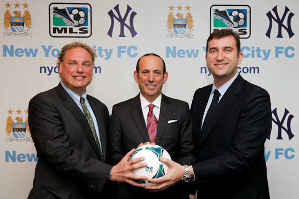 New York Yankees president Randy Levine, MLS commissioner Don garber, and Manchester City CEO Ferran Soriano. Credit: MLS Communications