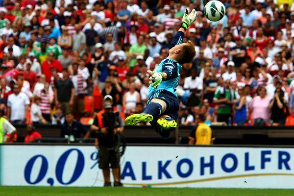Germany goalkeeper Marc-Andre ter Stegen can't reach Clint Dempsey's shot. Credit: Tony Quinn - ISIPhotos.com