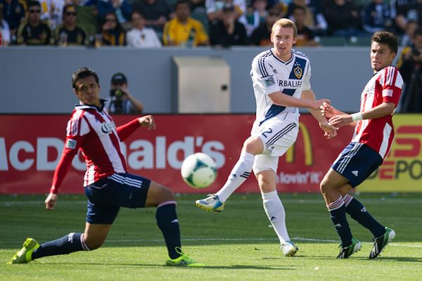 LA's Jack McBean during the 1-1 draw with Chivas USA on March 17, 2013. Credit: David Bernal - ISIPhotos.com