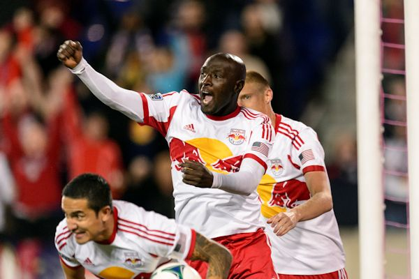 The New York Red Bulls celebrate a goal against Chicago in the final day of the 2013 MLS regular season. Credit: Howard C Smith - ISIPhotos.com