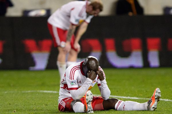 The New York Red Bulls following their semifinal loss to Houston on Nov 6, 2013. Credit: Howard C Smith - ISIPhotos.com