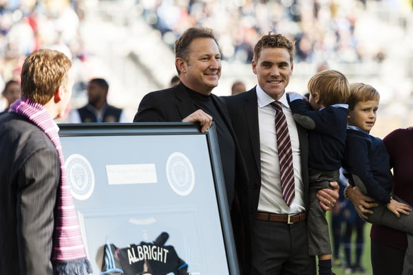 The Philadelphia Union honored Chris Albright on Oct 26, 2013. Credit: Howard C. Smith - ISIPhotos.com