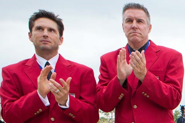 Class of 2013 National Soccer Hall of Famers Joe-Max Moore and Peter Vermes. Credit: Michael Janosz - ISIPhotos.com