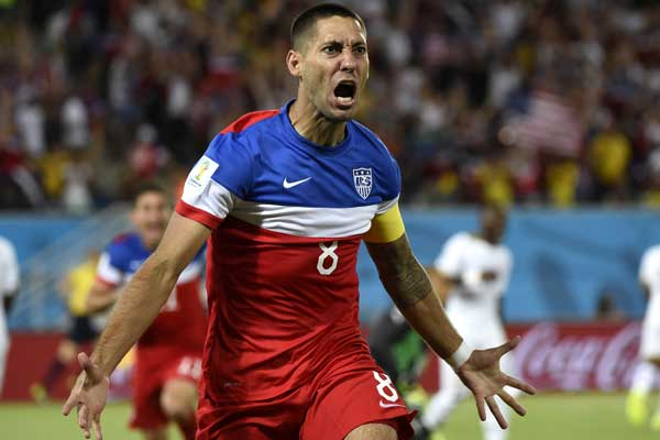 USMNT forward Clint Dempsey celebrates after scoring in the opening minute against Ghana in the 2014 World Cup. Credit: MEXSPORT/XINHUA Lui Siu Wai - ISIPhotos.com
