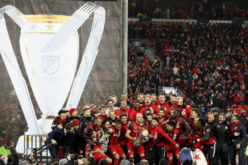 Toronto FC celebrates winning the 2017 MLS Cup.