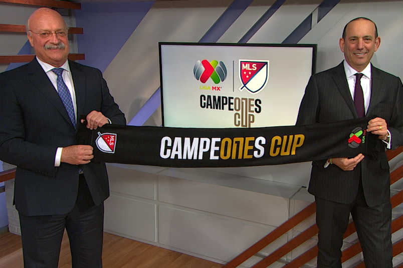 Liga MX president Enrique Bonilla and MLS commissioner Don Garber announce the Campeones Cup.