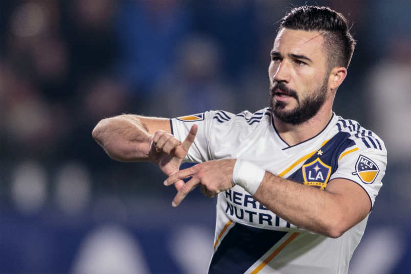 LA Galaxy player Romain Alessandrini celebrates his goal.