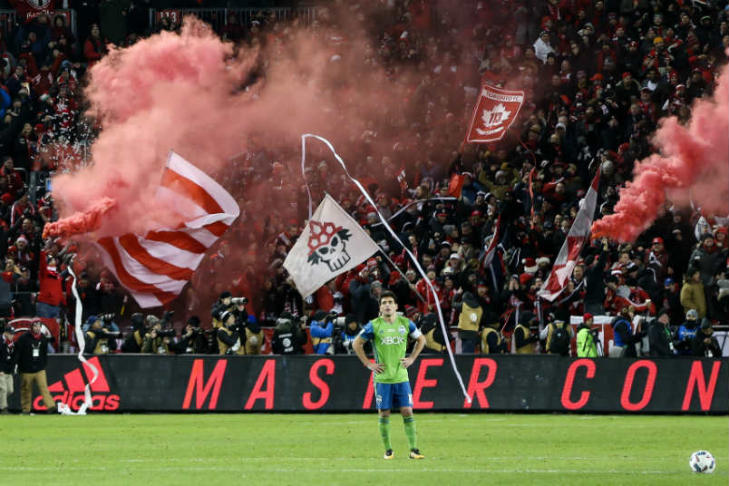 A Seattle player after Toronto FC scored in the 2017 MLS Cup.