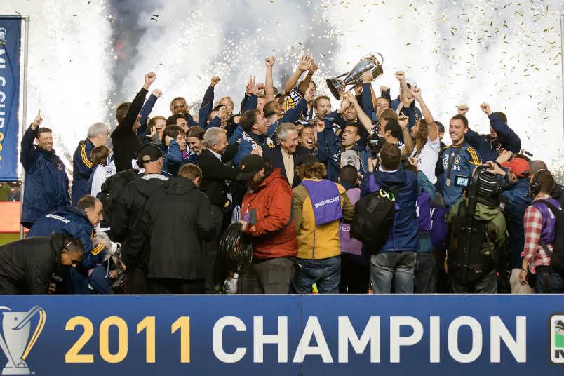 The LA Galaxy celebrate the 2011 MLS Cup.