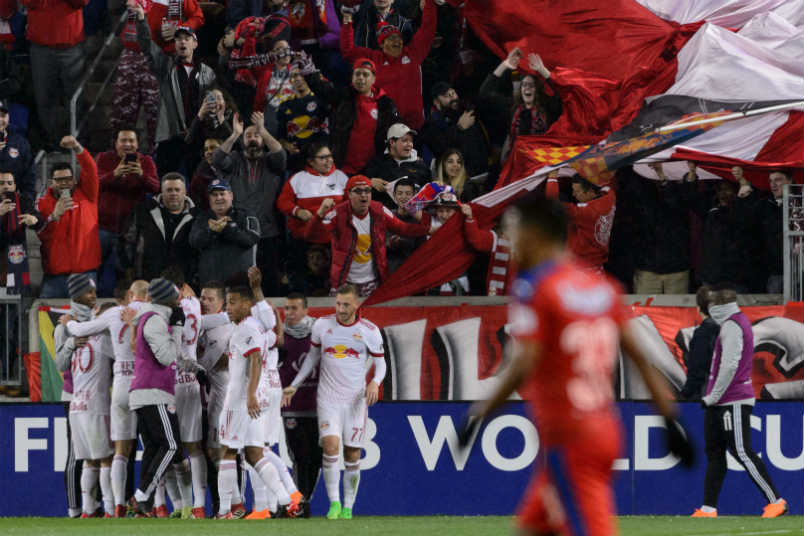 The New York Red Bulls celebrate a Champions League goal.