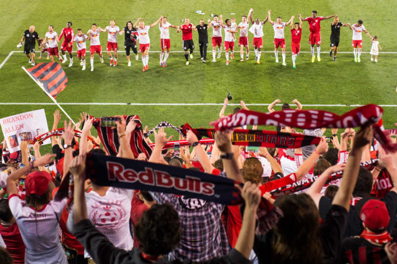 New York Red Bulls during the 2017 Hudson River derby.