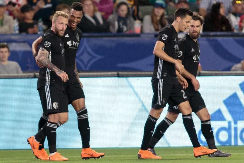 Sporting KC celebrates a goal at StubHub Center.
