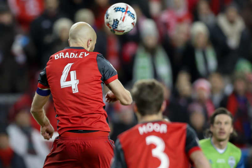 Toronto FC's Michael Bradley heads the ball during the 2017 MLS Cup.