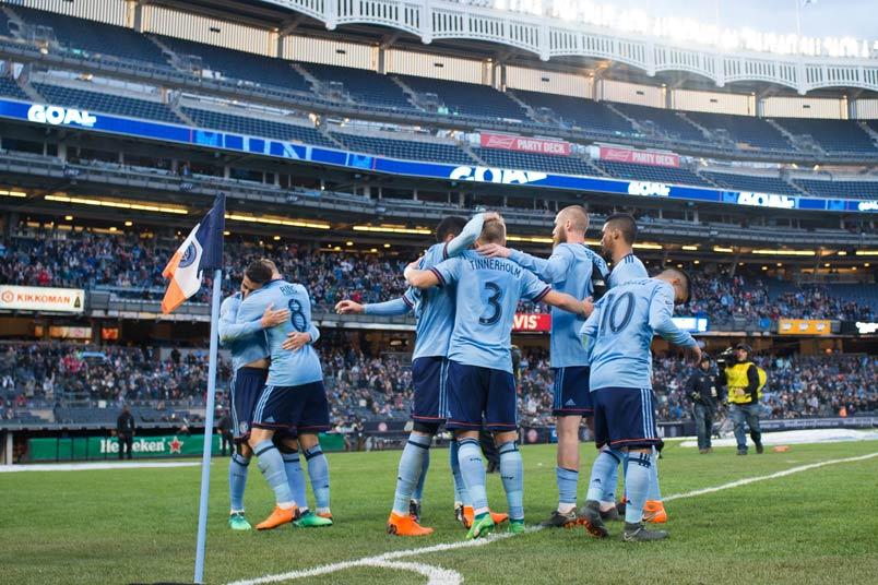 NYCFC David Villa goal celebration.