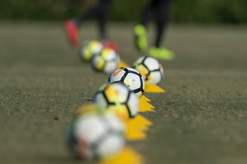 Row of soccer balls.