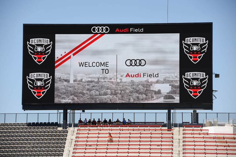 The scoreboard at Audi Field.