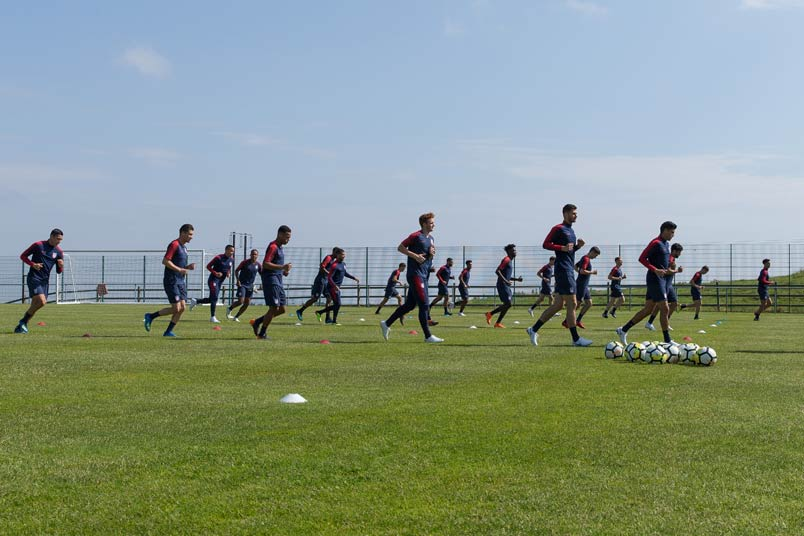 USMNT soccer players training.
