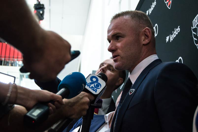 DC United player Wayne Rooney at press conference.