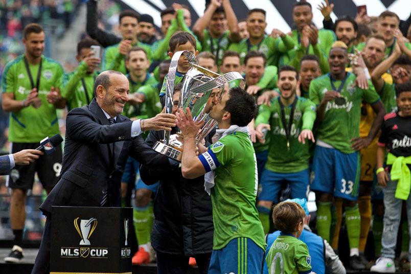 don garber seattle sounders mls cup trophy