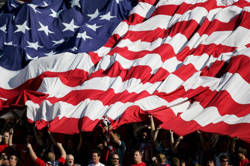 usmnt fans under american flag