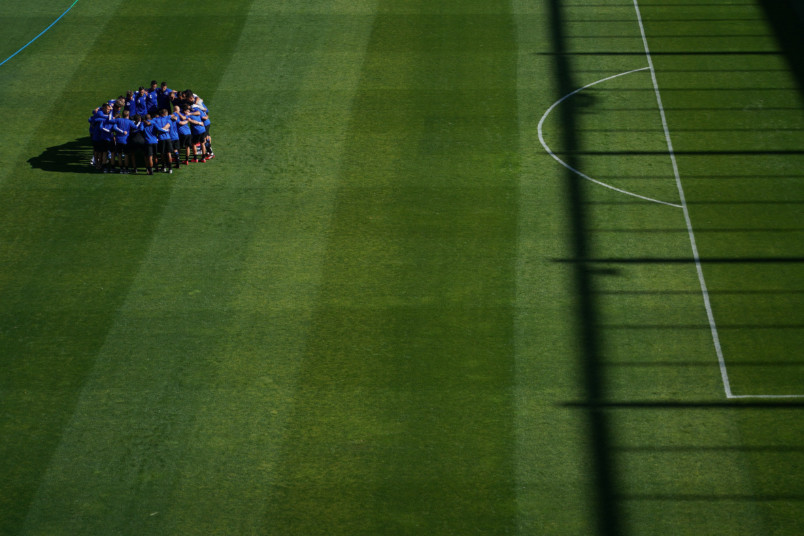 san jose earthquakes huddle prior to the feb 29, 2020 game against Toronto