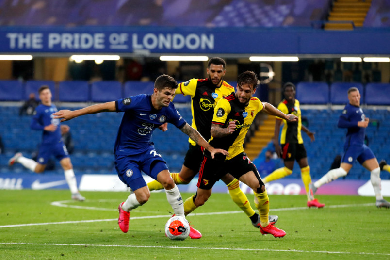 christian pulisic on the ball during chelsea vs watford