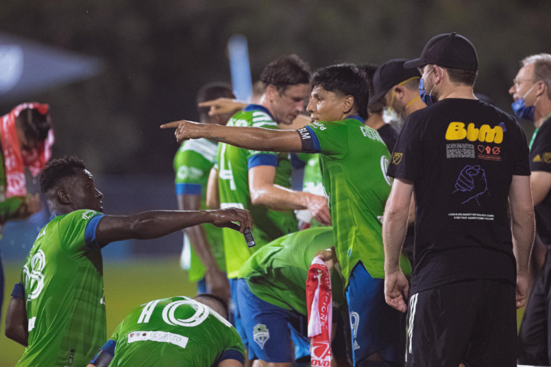 seattle sounders during a break in their game against san jose at mls is back