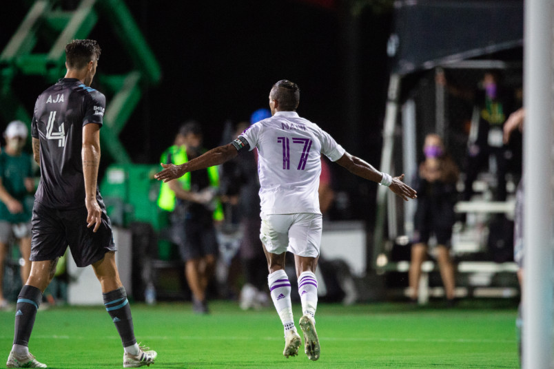 nani goal celebration against minnesota at mls is back