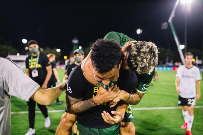 portland timbers celebrate winning mls is back semifinal
