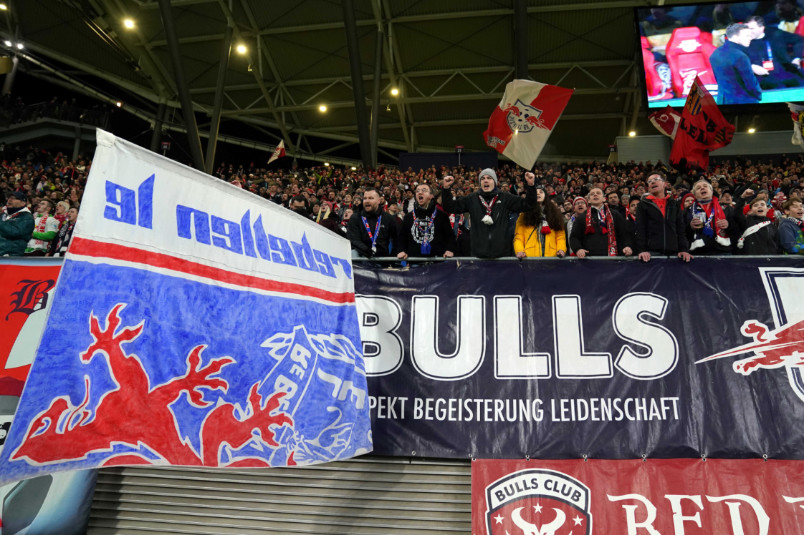 rb leipzig fans celebrate beating spurs in the 2019-20 champions league