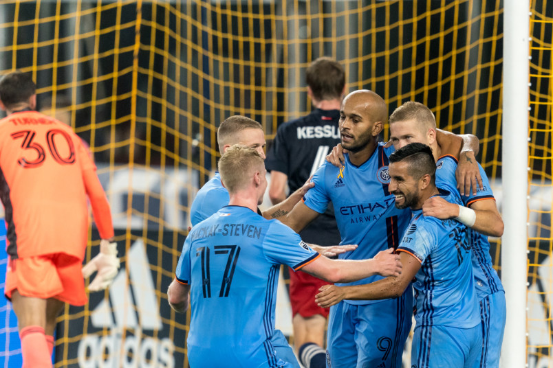 nycfc goal celebration with players in a circle