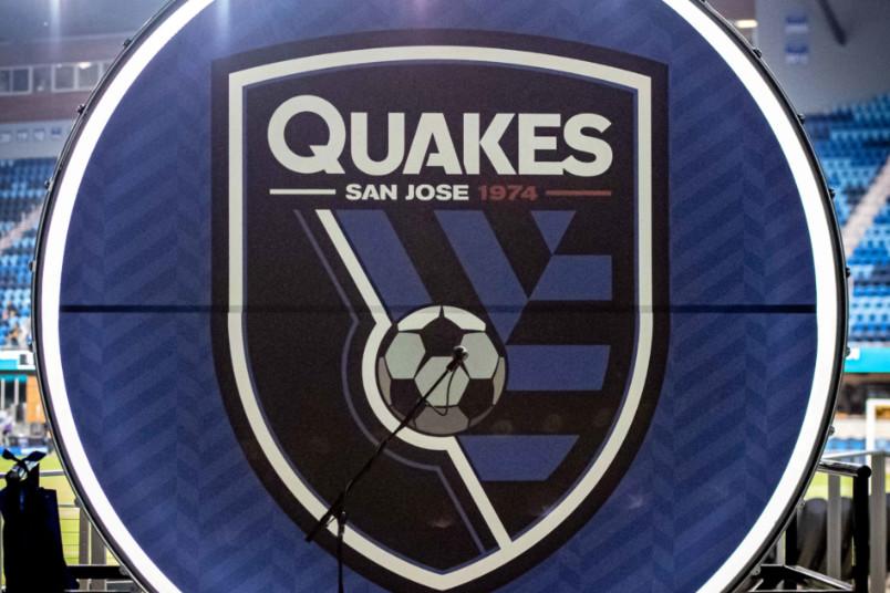 san jose earthquakes drum with club logo