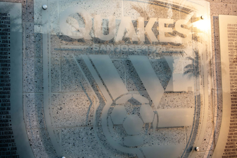 san jose earthquakes logo on the side of stadium