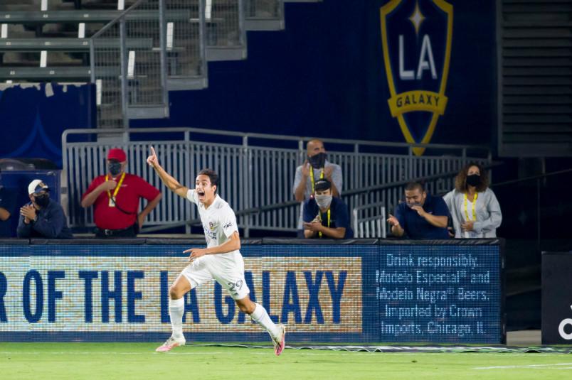 la galaxy player ethan zubak celebrates his goal against Portland
