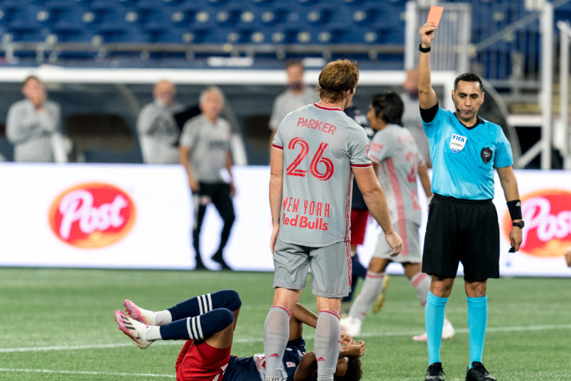 red card shown to tim parker during mls game