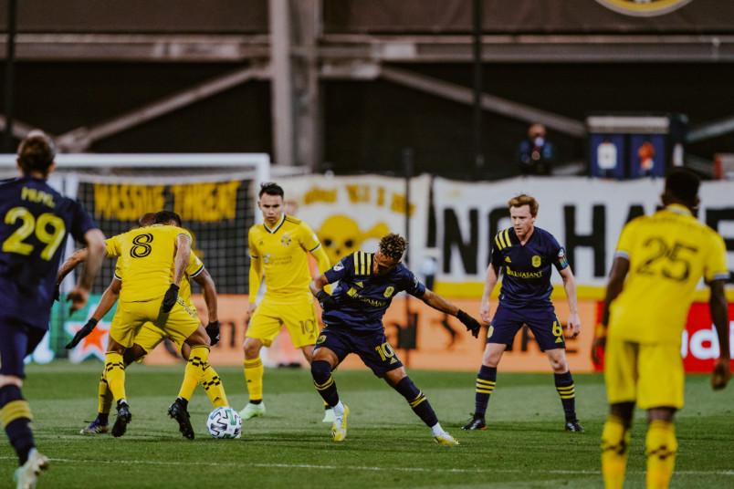 columbus vs nashville mls playoff action