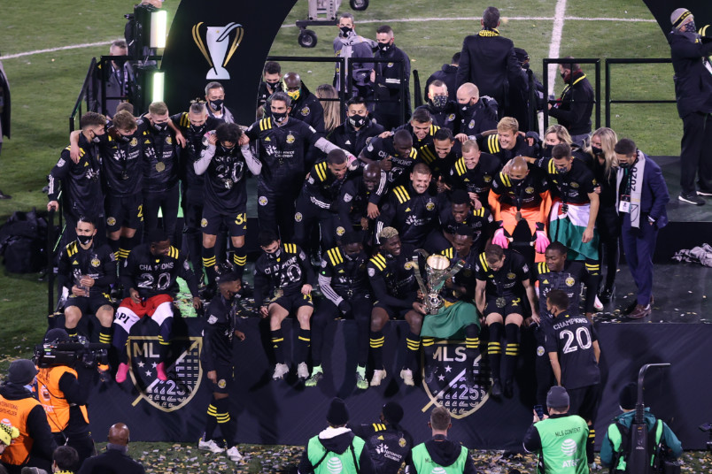 columbus crew trophy celebration 2020 mls cup