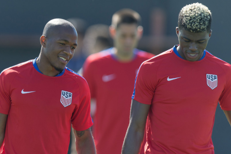 darlington nagbe and gyasi zardes with the usmnt in 2017