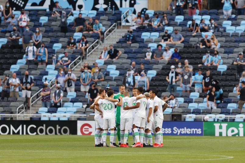 austin fc huddle at minnesota united