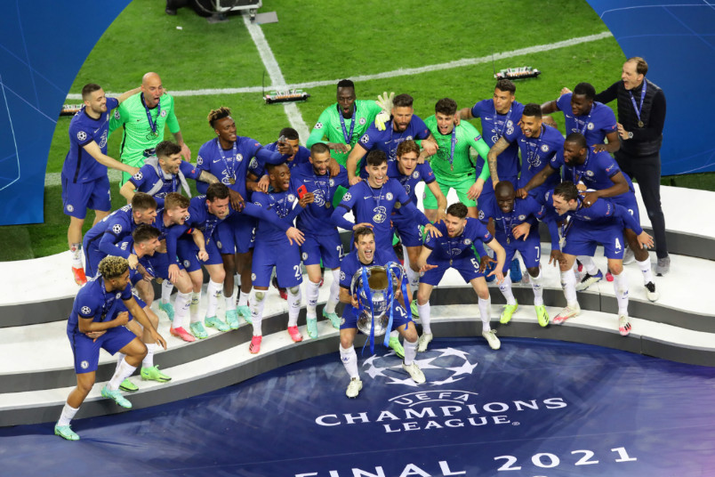 chelsea champions league trophy celebration