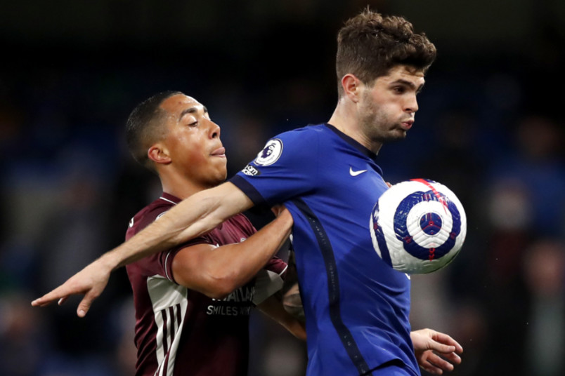 christian pulisic during chelsea vs leicester city