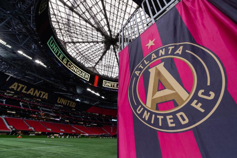 atlanta united flag at mercedes benz stadium