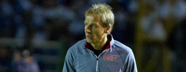 US National Team coach Jurgen Klinsmann, during the 1-1 World Cup Qualifying draw with Guatemala on June 12, 2012.  Credit: Douglas Zimmerman - ISIPhotos.com