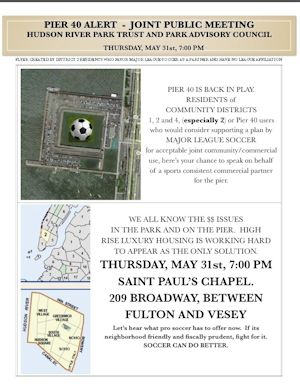 The flyer for the Pier 40 public meeting.